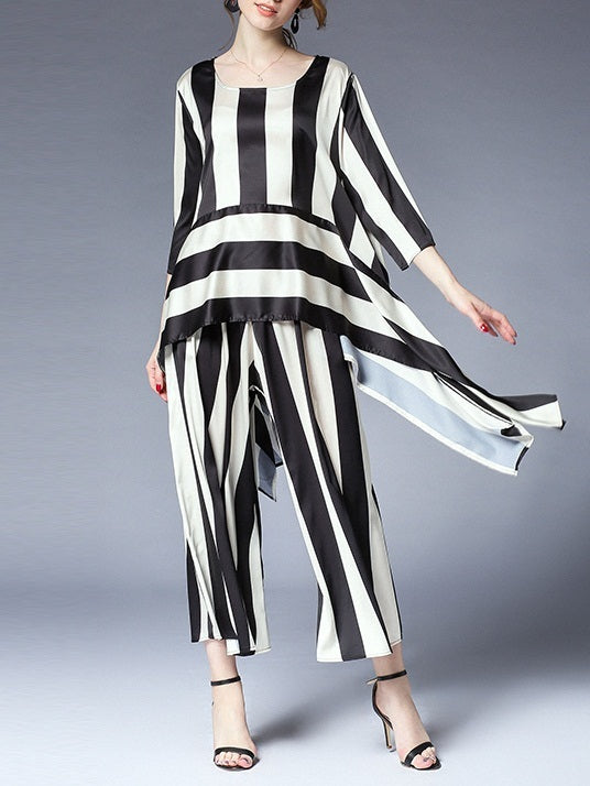 Mailyn Stripe Longer Back Top and Pants Set