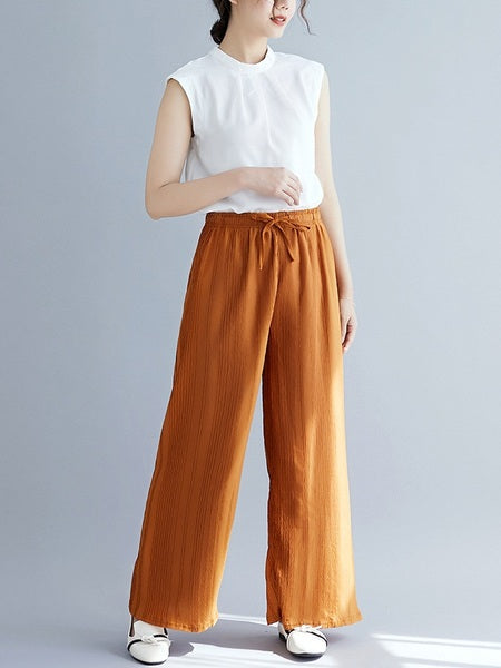 Orlagh Textured Wide Leg Pants (EXTRA BIG SIZE)