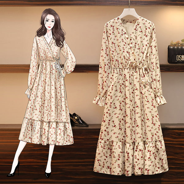Kathryn Plus Size Cream Floral Wrap V Neck Long Sleeve Midi Dress