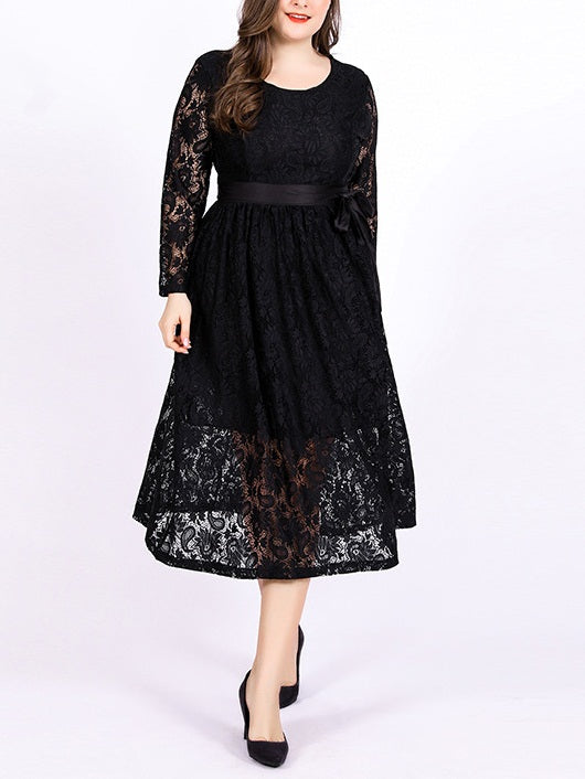 Shirin Lace Ribbon Waist Tie L/S Midi Dress (EXTRA BIG SIZE)