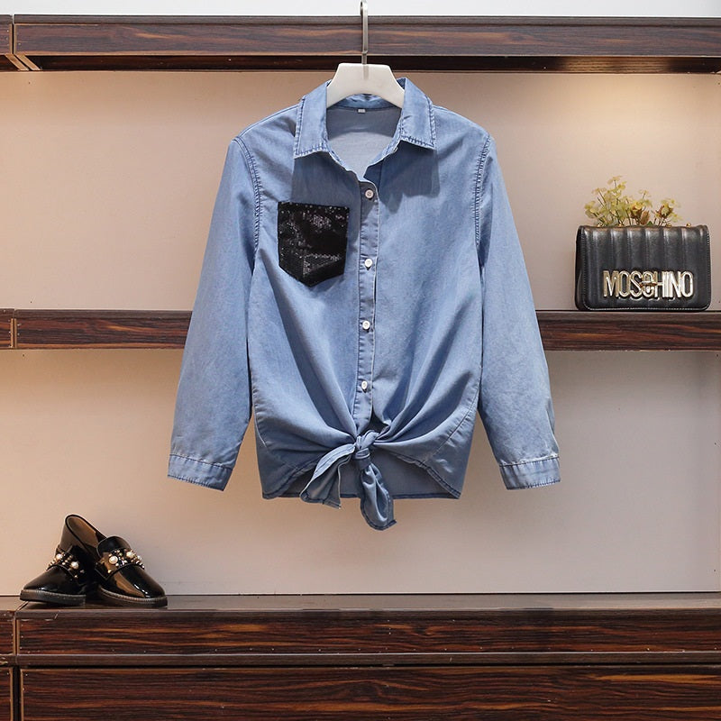Sagan  Sequin Denim L/S Shirt Top / Jacket