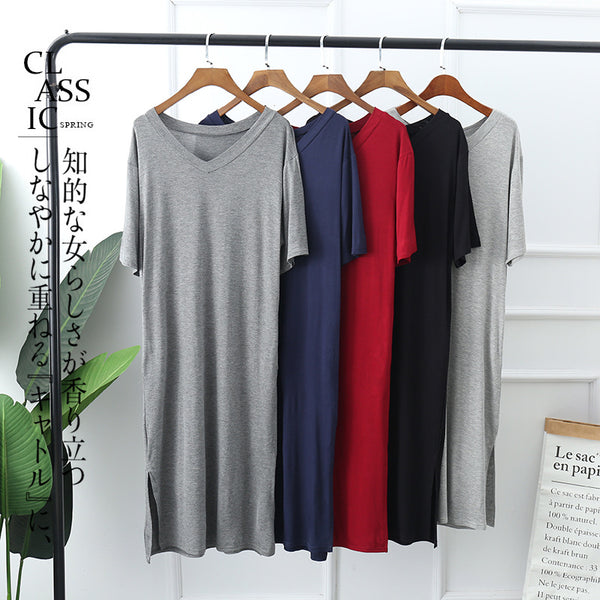 Plus Size Pyjamas Dress V Neck Cotton Casual Wear / Sleep Wear Short Sleeve Midi Dress (Midi Sleep Dress)