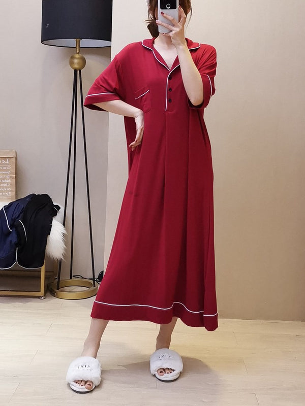 Plus Size Long Sleep Gown Red