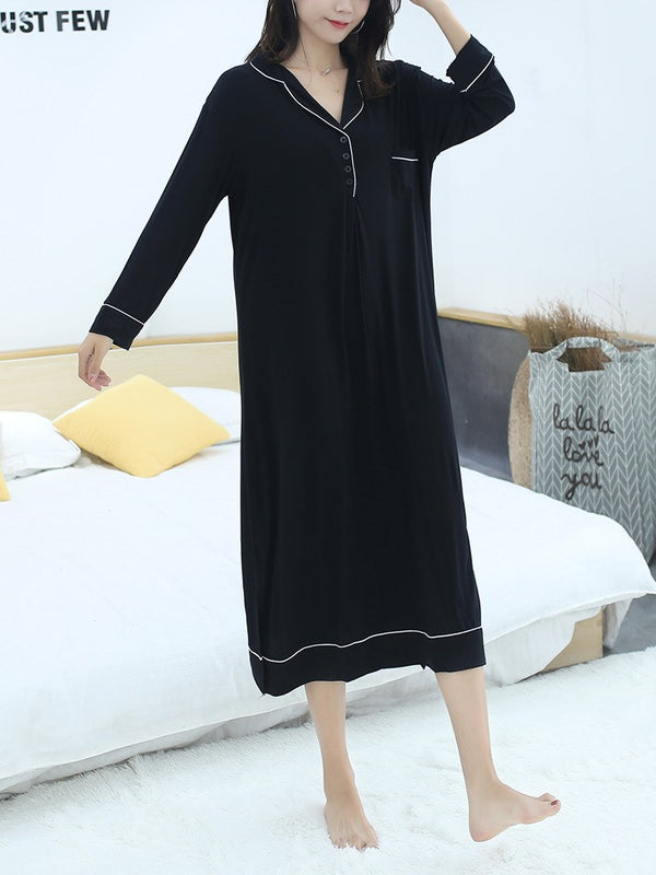 Plus Size Pyjamas Dress Collared Dress Modal Cotton Long Sleeve Midi Dress (Midi Sleep Dress)
