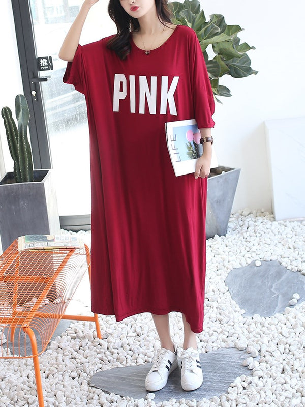 Plus Size PINK Pyjamas Dress Collared Dress Modal Cotton Short Sleeve Midi Dress (Midi Sleep Dress)