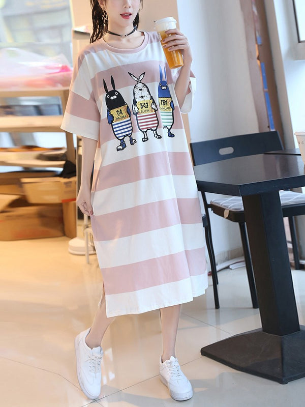 Plus Size Stripes Bunnies Pyjamas Dress Collared Dress Modal Cotton Short Sleeve Midi Dress (Midi Sleep Dress)