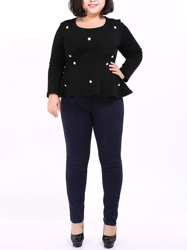 Plus Size Winter Fleece Inside Thermal Leggings Long Pants  (Blue, Black) (EXTRA BIG SIZE)