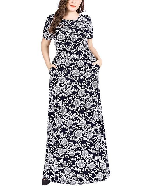 Plus Size Short Sleeve Maxi Dress (Muslimah Friendly) (EXTRA BIG SIZE)