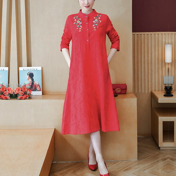 Plus size little floral embroidery mandarin collar long sleeve midi dress