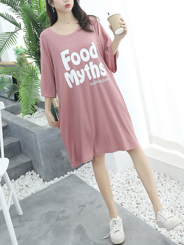 Plus Size Pyjamas Dress Food Mid Sleeve Dress