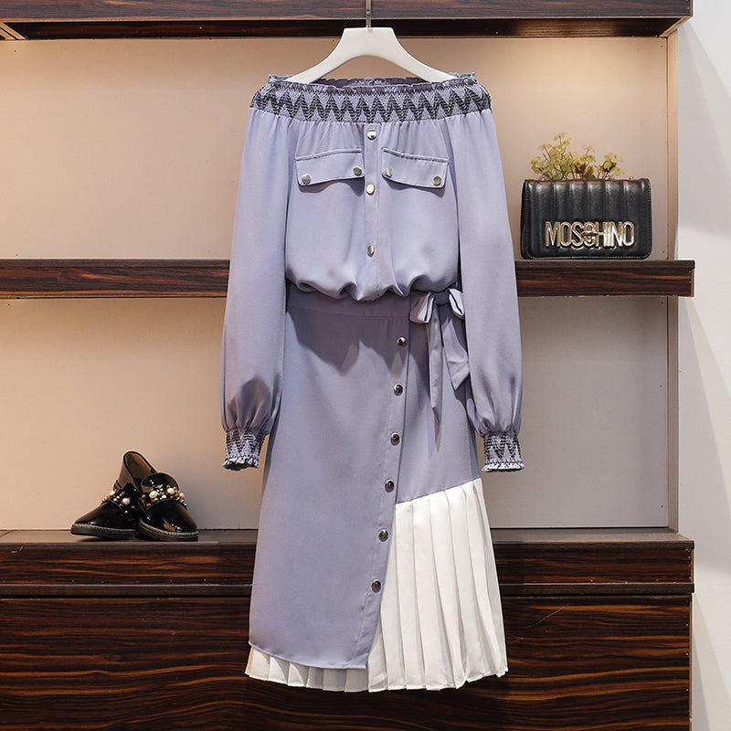 Coco Plus Size Pastel Blue Scrunch Off Shoulder Long Sleeve Blouse and Skirt Set