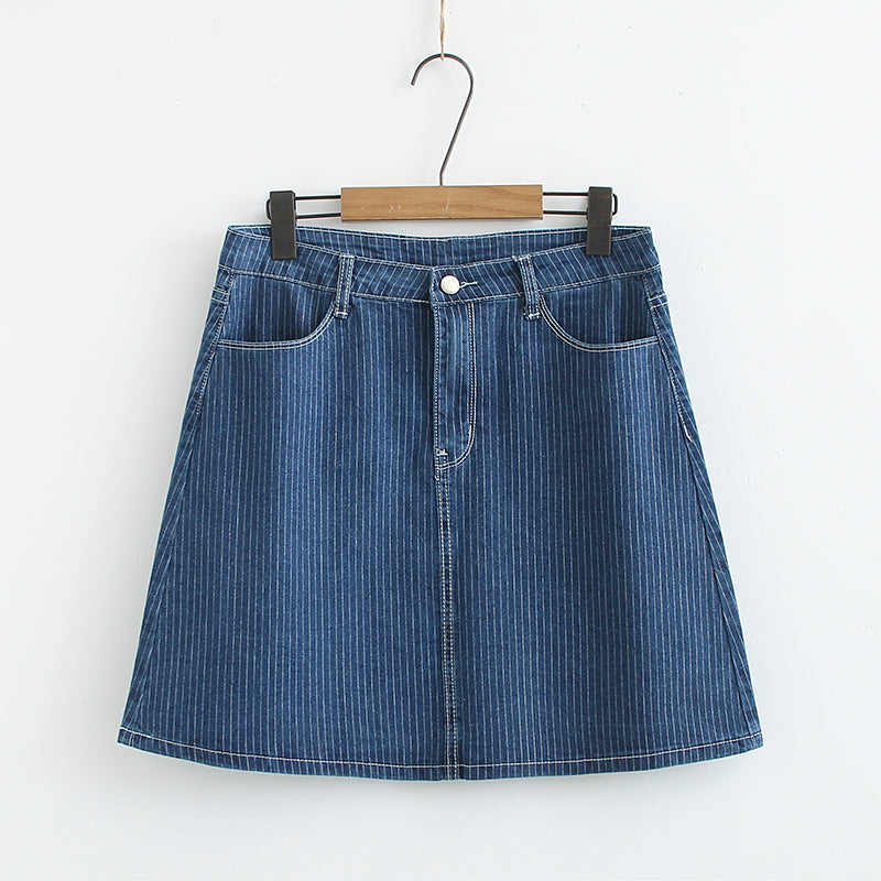 Plus Size Blue Stripes Denim Mini Skirt