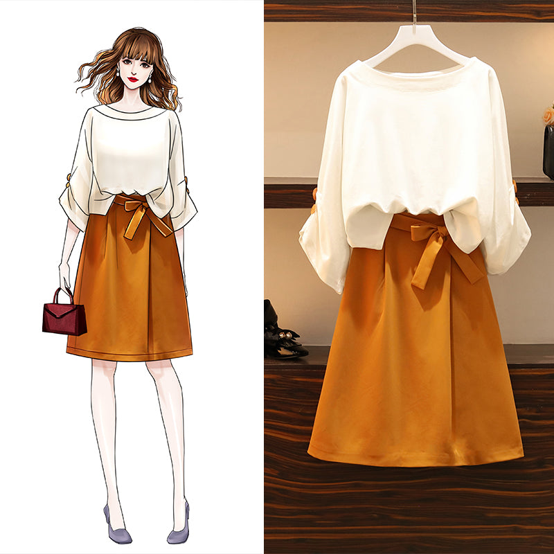 Plus Size White Mid Sleeve Blouse and Ribbon Yellow Skirt Set