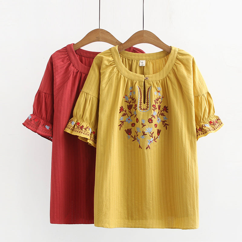 Plus Size Ethnic Embroidery Short Sleeve Top (Yellow, Red) (EXTRA BIG SIZE)
