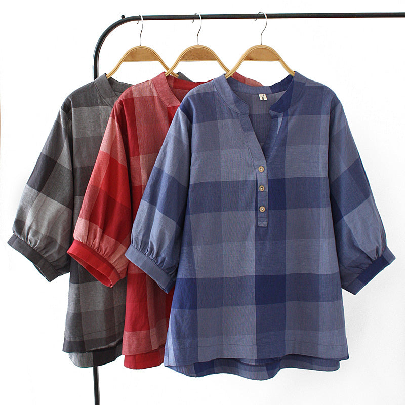 Plus Size Checked Button V Neck Mid Sleeve Blouse (Black, Red, Blue) (EXTRA BIG SIZE)