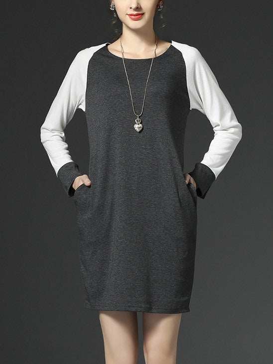 (Ready Stock XL, 2XL, 4XL, 5XL) Plus Size Raglan Pockets Grey / White Long Sleeve Dress