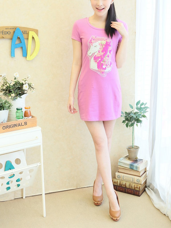 (Ready Stock Bust 98 CM *1) Plus Size Unicorn T Shirt Dress