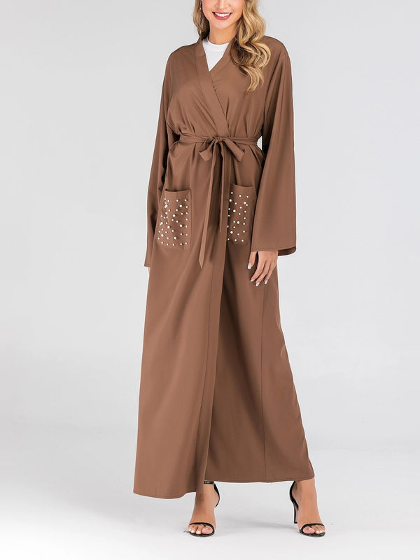 Plus Size Modern Muslimah Kimono Open Jacket With Brown Pearls Pocket