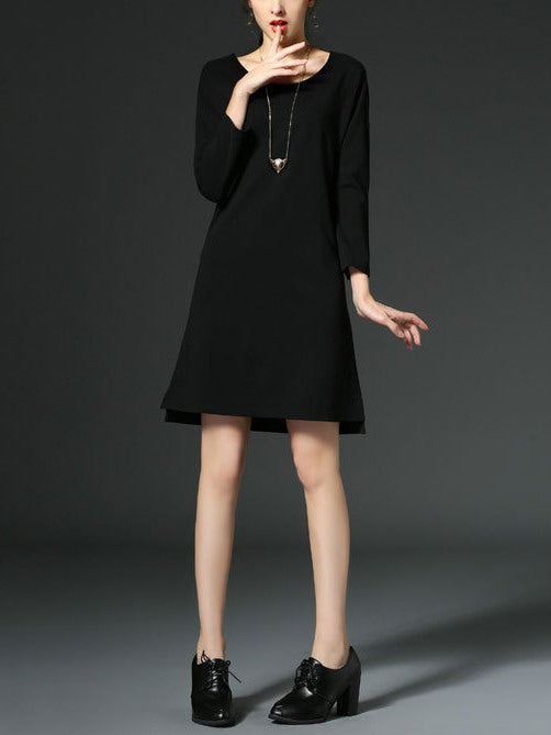 (Ready Stock Black XL *1) Black 3/4 Sleeve Round Neck Dress