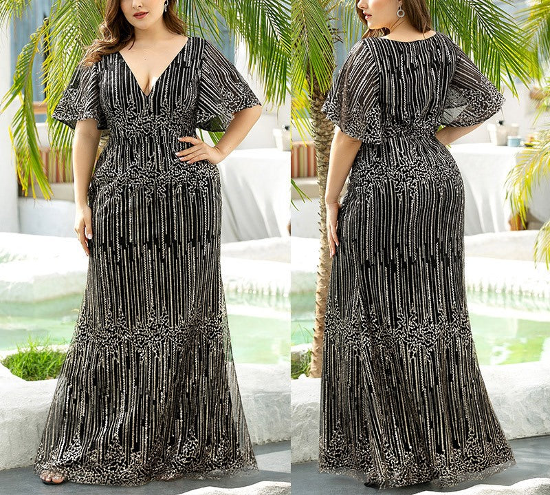Plus Size Sequin Maxi Dress Gown (EXTRA BIG SIZE)