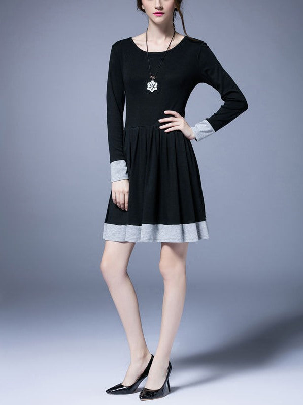 (Ready Stock Black XL *1) Plus Size Grey Colourblock Pleated Long Sleeve Dress