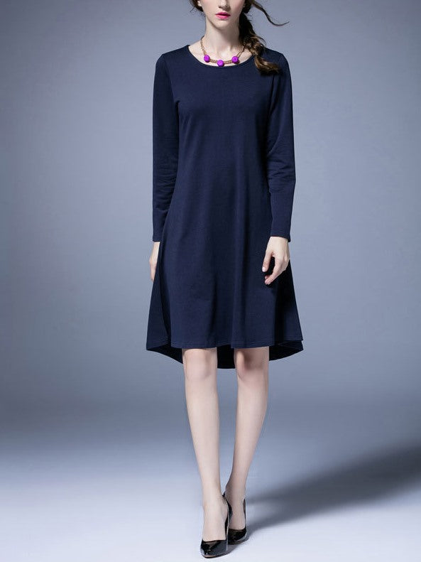 (Ready Stock Blue XL *1) Plus Size Blue Boatneck Long Sleeve Dress