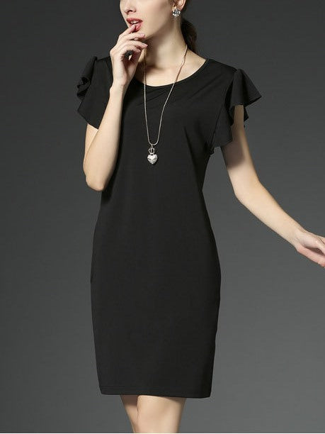 (Ready Stock Black XL *1) Flutter Sleeve Simple Dress