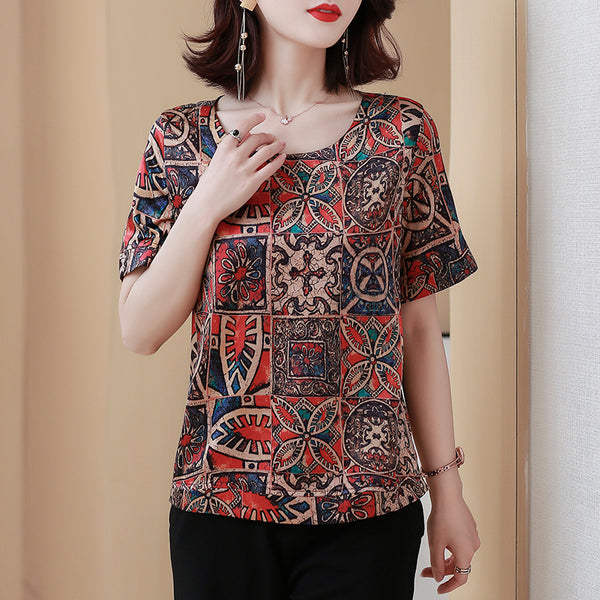 Plus size green / red ethnic print short sleeve chiffon blouse