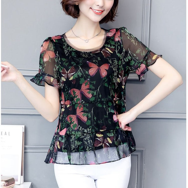 Plus size round neck bell sleeve crepe short sleeve chiffon blouse