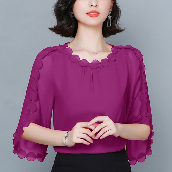 (6 Colours!) Plus size chiffon cape polka dots mid sleeve blouse