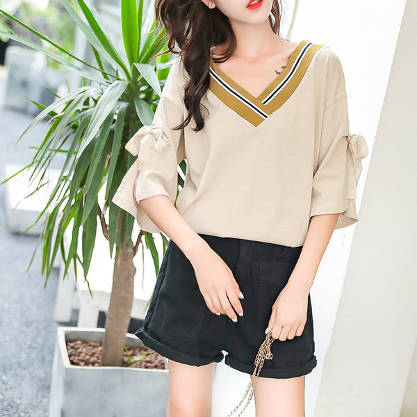 Plus size varsity stripes ribbon mid sleeve blouse