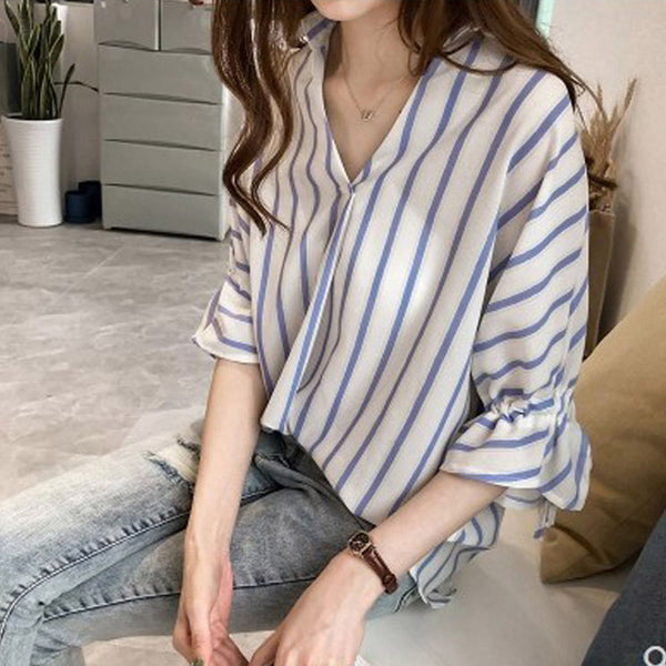 Plus size stripes v neck loose korean mid sleeve shirt blouse