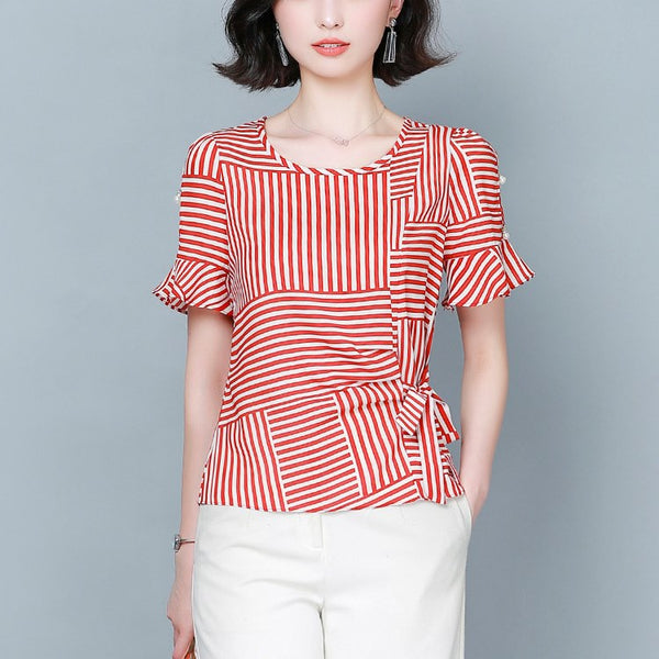 Plus size stripes side waist tie round neck short sleeve shirt blouse