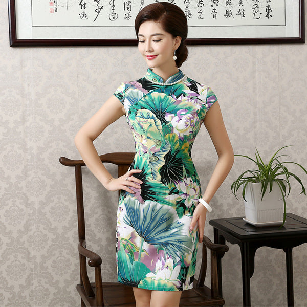 Oriental Beauty Qipao Cheongsam - Pond of Lily