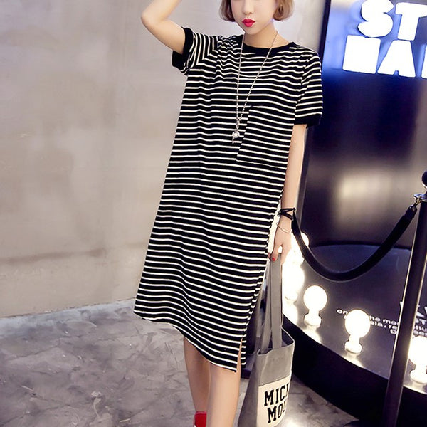 Plus Size Pocket Stripes Casual T Shirt Dress