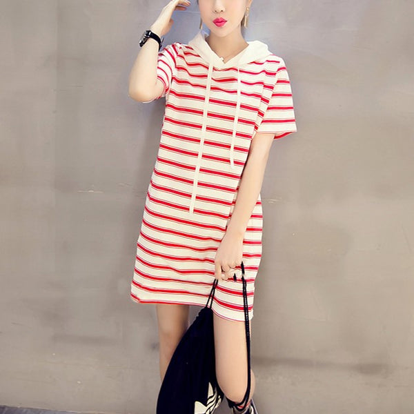 Plus Size Hoodie Stripes Short Sleeve T Shirt Dress (Red, Black, White)