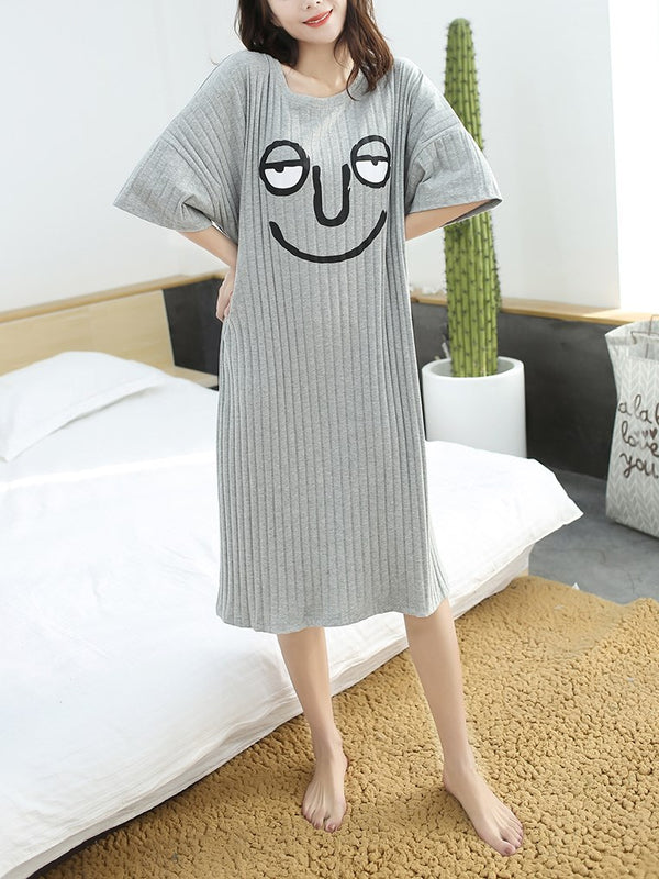 Plus Size Pyjamas Oversized Loose Ribbed Face 3/4 Mid Sleeve Midi Dress (Pink, Grey, Blue)