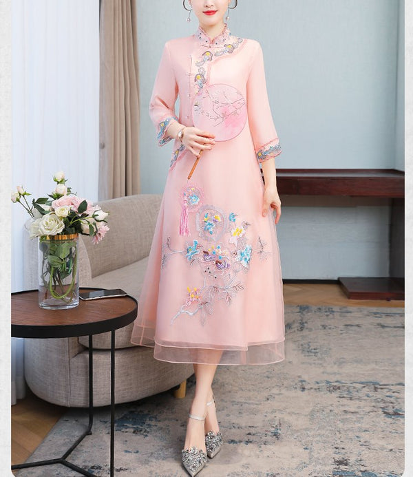 Plus size oriental embroidery mid sleeve midi dress cheongsam