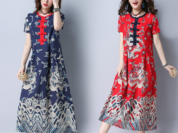 Plus size ethnic contrast buttons short sleeve midi dress cheongsam (Blue, Red)