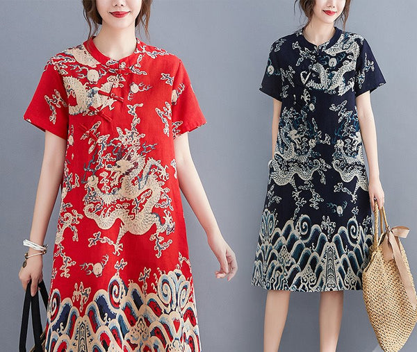 Plus size ethnic cheongsam short sleeve midi dress