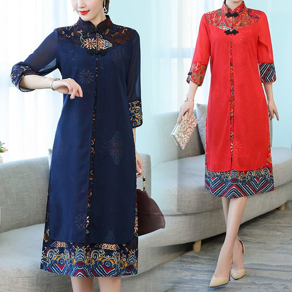 Plus size panel ethnic cheongsam mid sleeve midi dress (Blue, Red)