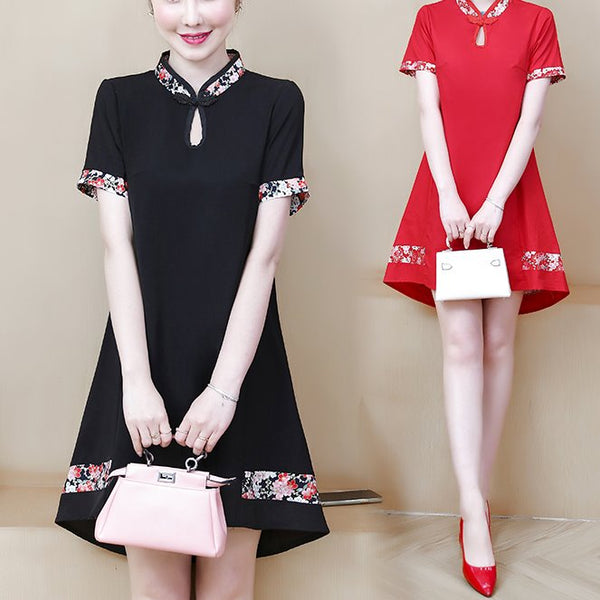 Plus size tent japanese floral layer cheongsam short sleeve dress (Red, Black)