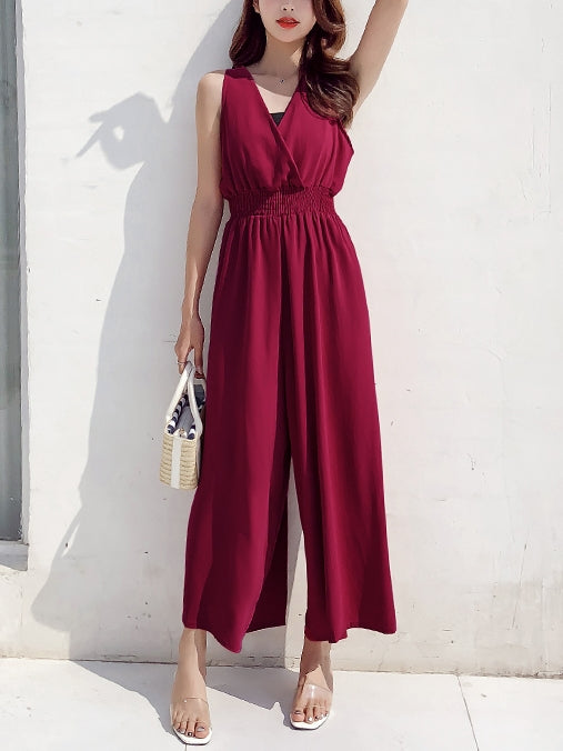 V Neck Wide Leg Sleeveless Jumpsuit