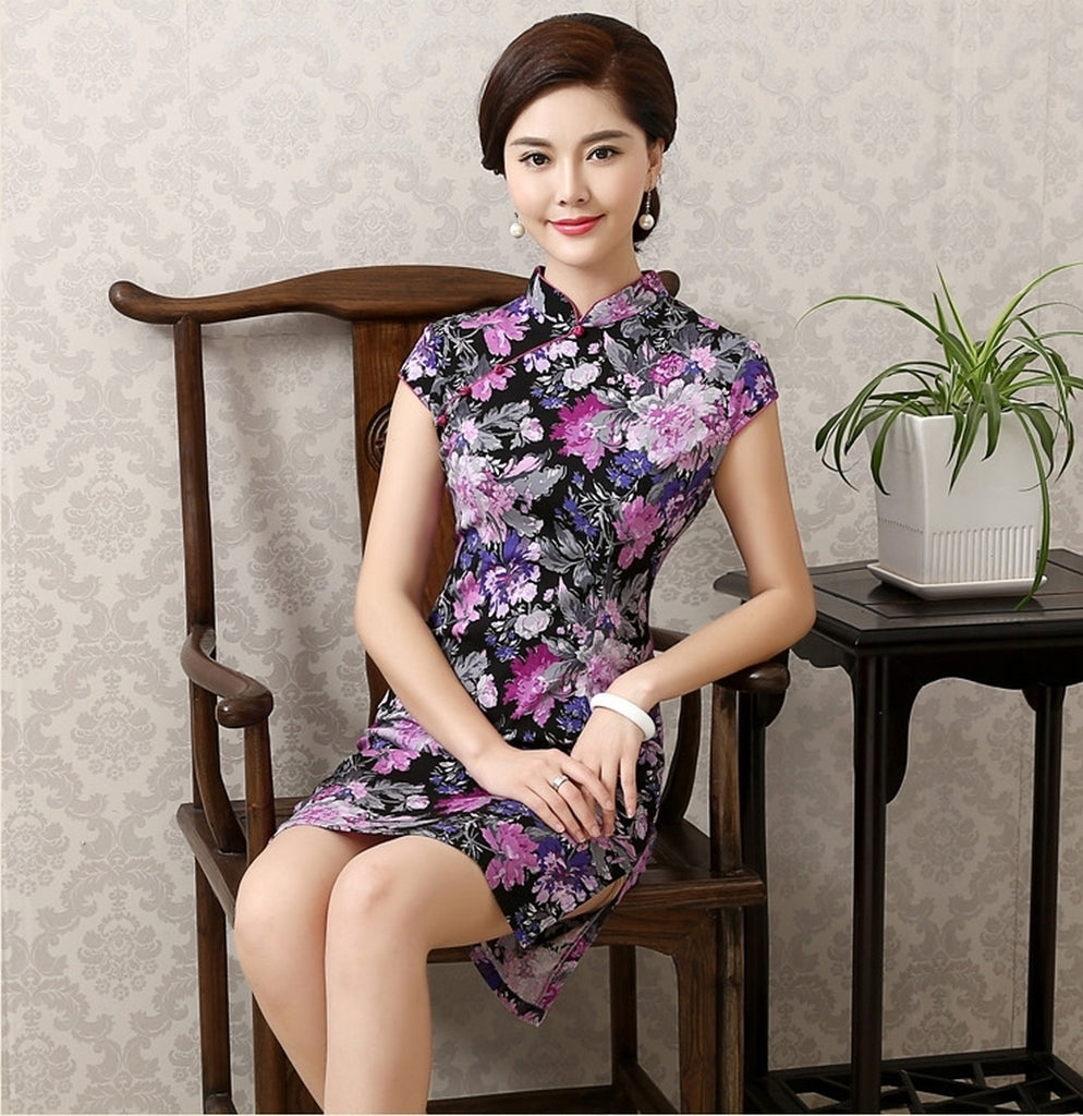 Oriental Beauty Plus Size Qipao Cheongsam - Eternal Lavender