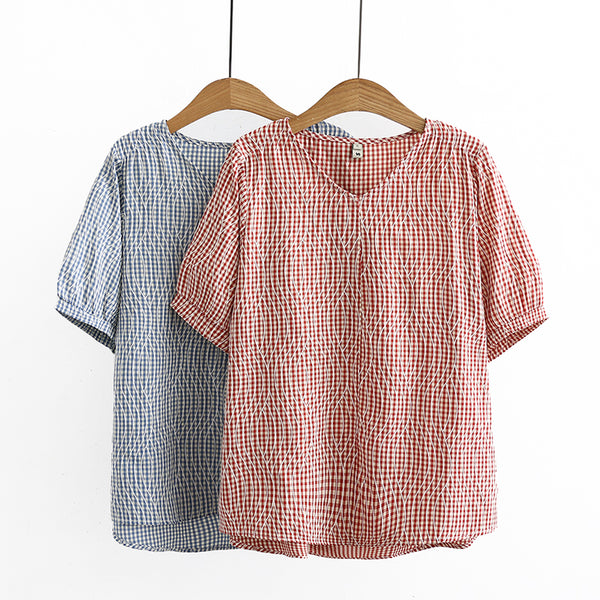 Plus Size Waves Gingham Short Sleeve Top (EXTRA BIG SIZE)