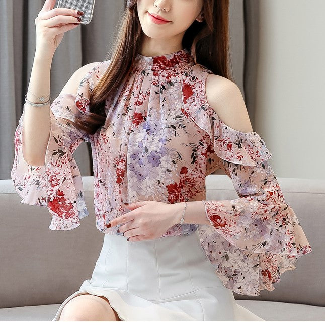Plus Size Off Shoulder Floral Lace Chiffon Short Sleeve Top