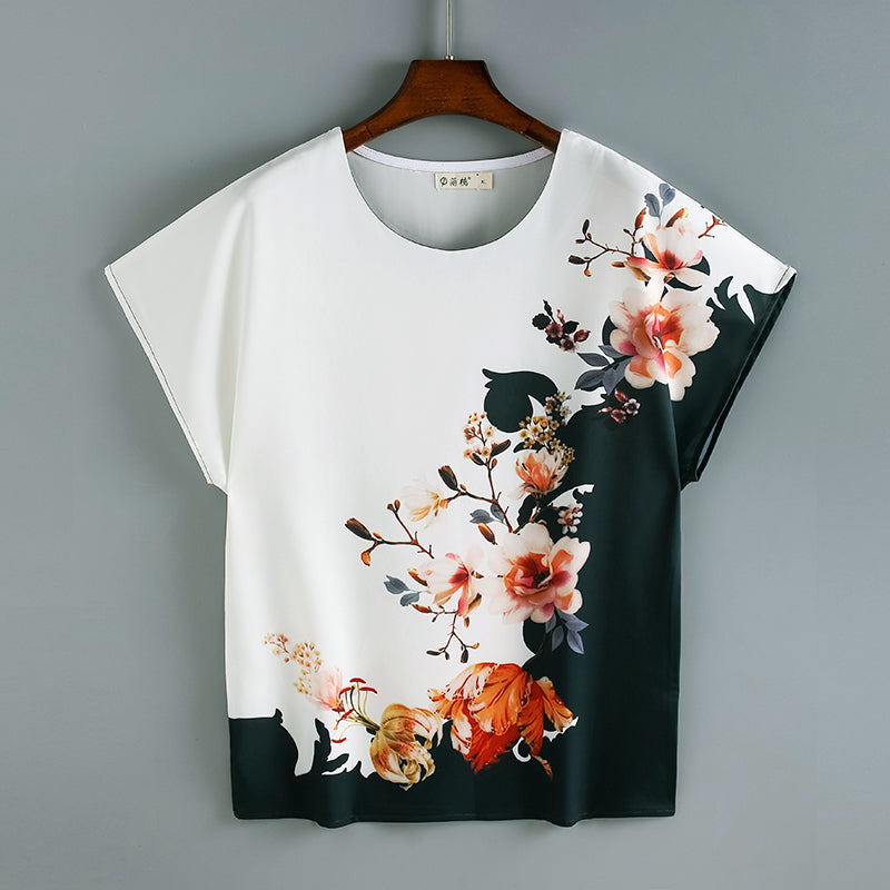 Plus Size Floral Print Colourblock Short Sleeve Top