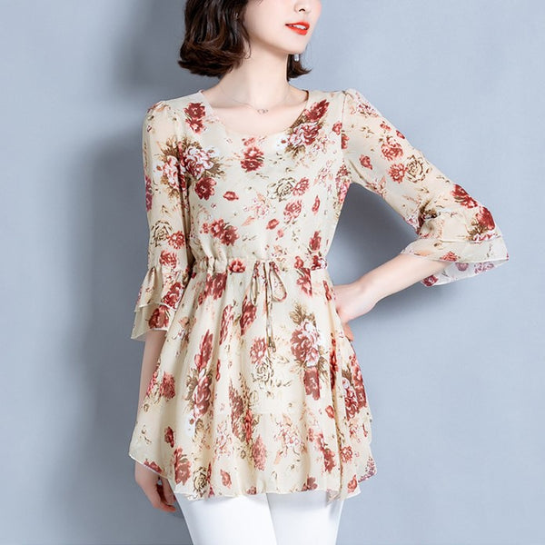 Plus Size Floral Chiffon Babydoll Mid Sleeve Top