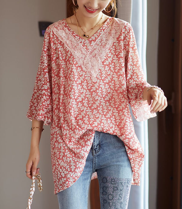 Plus Size Long Red Floral Lace Chiffon Short Sleeve Top