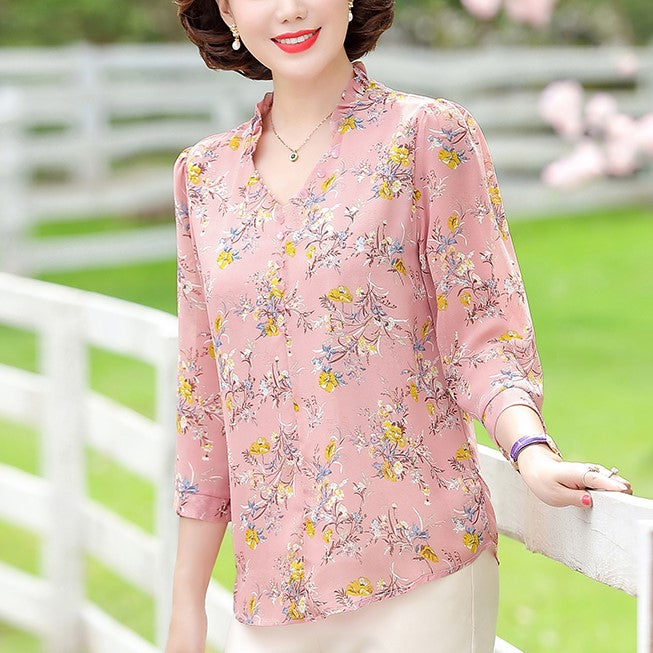 Plus Size V Neck Frill Floral Chiffon Mid Sleeve Top